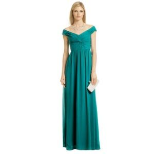 ERIN Fetherston twisted up in love green gown